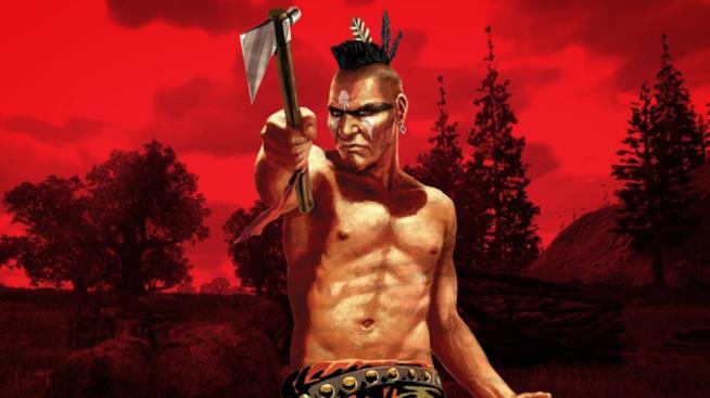 Un combattivo nativo americano in un artwork ufficiale del primo RDR