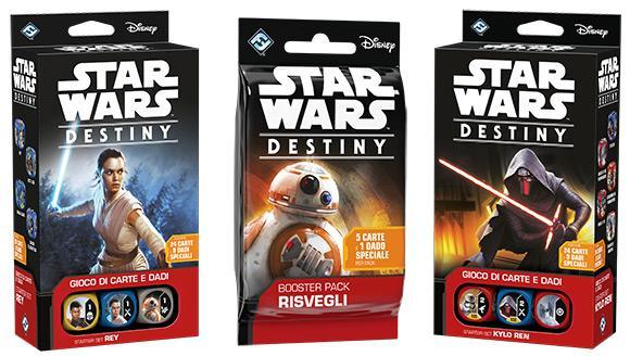 Le confezioni di Rey e Kylo Ren di Star Wars Destiny, insieme a un booster pack.