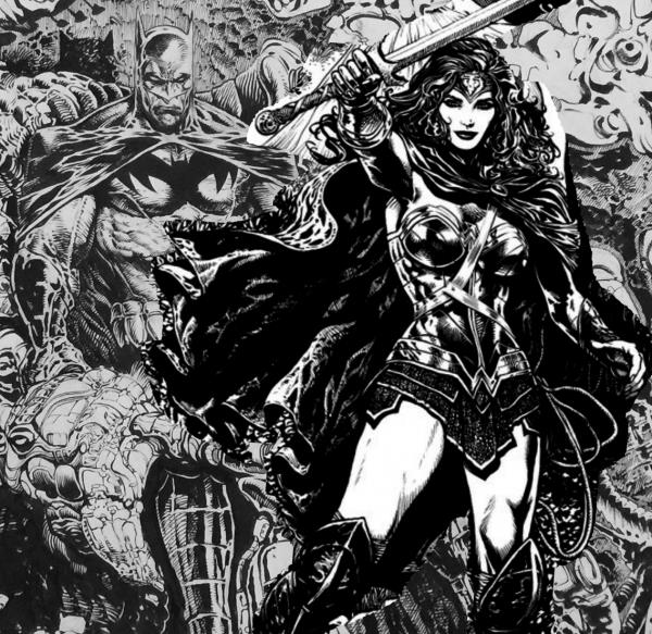 Un disegno di Liam Sharp raffigurante Batman e Wonder Woman
