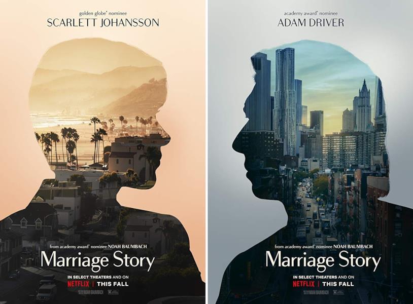 Collage dei due poster ufficiali di Marriage Story