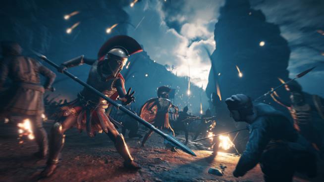 Uno spettacolare combattimento notturno in Assassin's Creed Odyssey