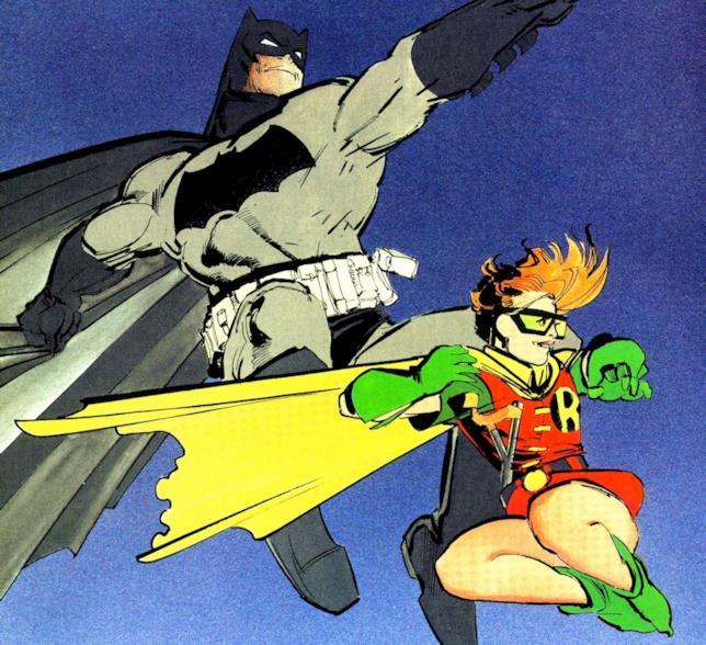 Batman e Robin sospesi a mezz'aria