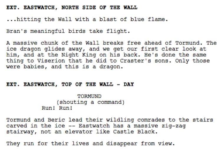 Sequenza del copione dell'ultimo episodio di GoT 7