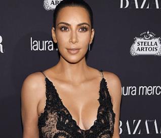 Kim Kardashian a un evento per Harper's Bazaar