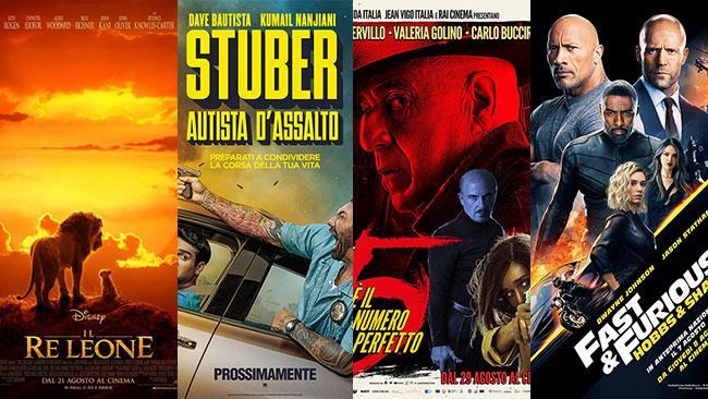 I poster di Il Re Leone, Stuber - Autista d'assalto, 5 è il numero perfetto, Hobbs & Shaw