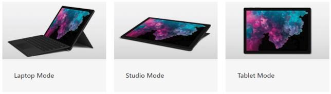 Le modalità d'uso del Surface Pro 6 di Microsoft