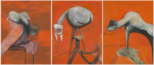 In foto l'opera Tre studi per una Crocifissione di Francis Bacon