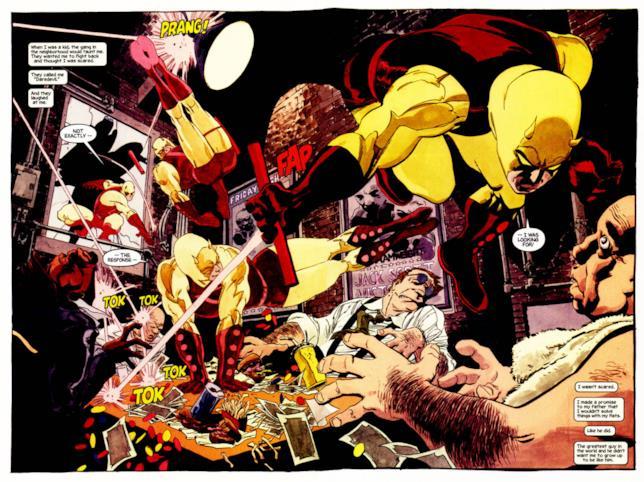 Una tavola esplosiva di Tim Sale da Daredevil: Giallo