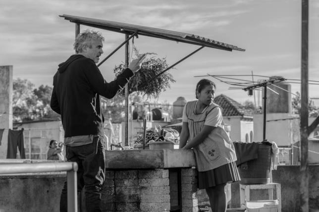 Alfonso Cuarón sul set di Roma