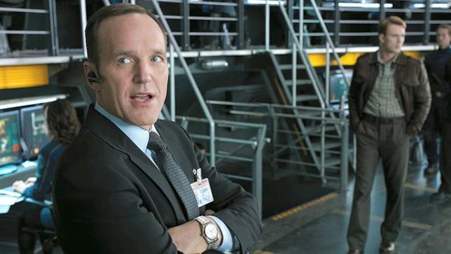 Phil Coulson e Steve Rogers nel primo Avengers