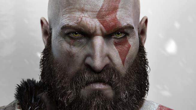 Un primo piano di Kratos invecchiato in God of War