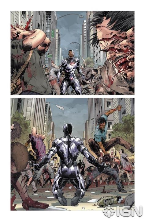 Cyborg affronta l'orda di zombie