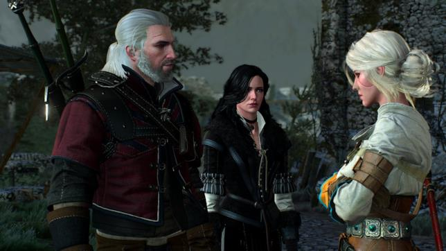 Geralt, Yennefer e Ciri riuniti in una scena da The Witcher 3: Wild Hunt