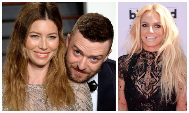 Primo piano di Justin Timberlake, Jessica Biel e Britney Spears