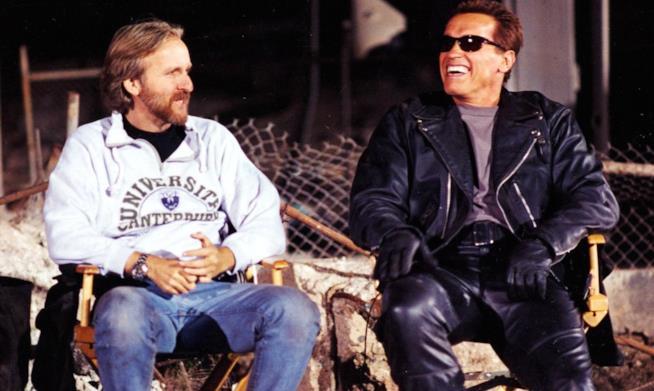 James Cameron e Arnold Schwarzenegger sul set di Terminator 2