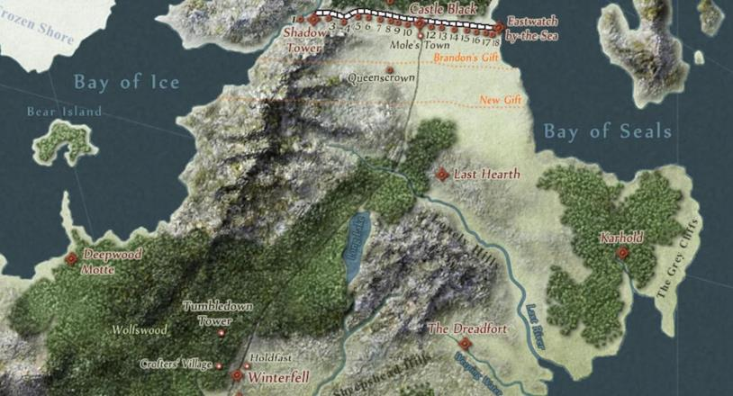 La mappa del Nord in Game of Thrones