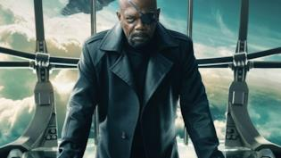 Un primo piano di Samuel L. Jackson nei panni di Nick Fury