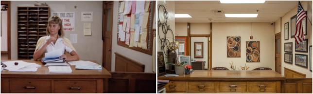 Gli interni del liceo di Grease con Sandy in una scena