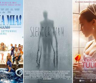 I poster dei fim Mamma mia! Ci risiamo, Slender Man, La ragazza dei tulipani