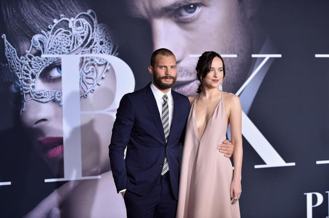 Jamie Dornan e Dakota Johnson alla première di 50 Sfumature di Nero