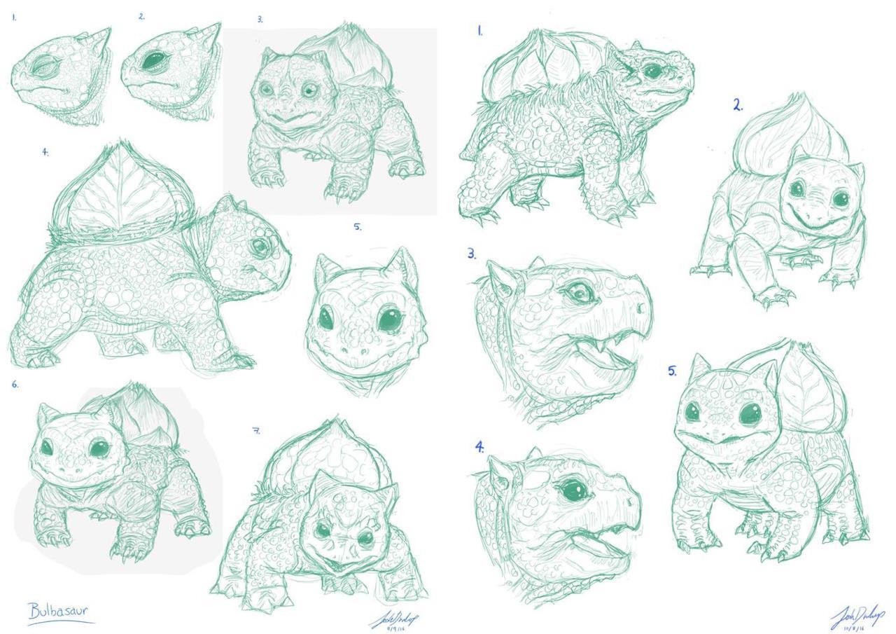 Gli sketch di Joshua Dunlop per Bulbasaur