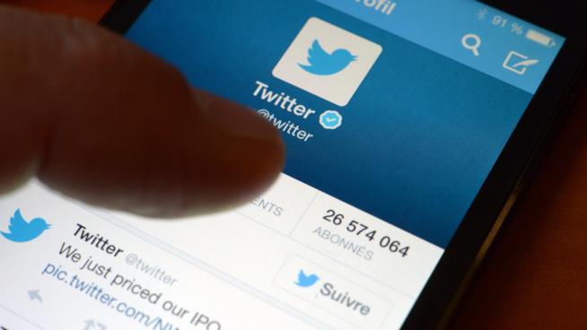 Primo piano del display di uno smartphone che mostra l'account di Twitter