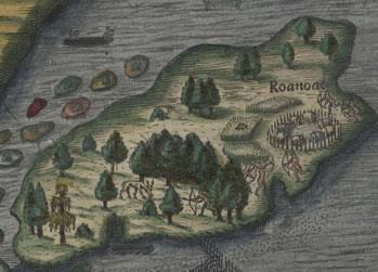 Una mappa della colonia di Roanoke