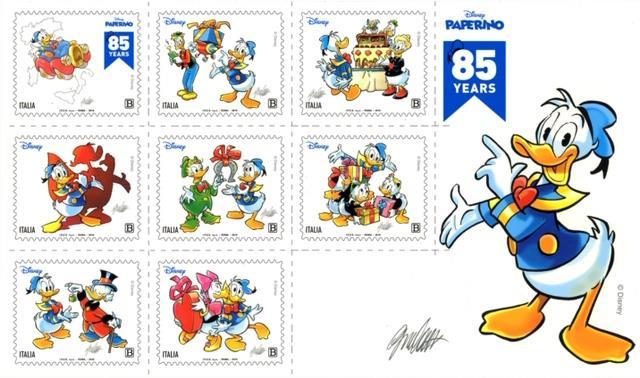 Foglietto 8 francobolli di Paperino per l'85esimo anniversario