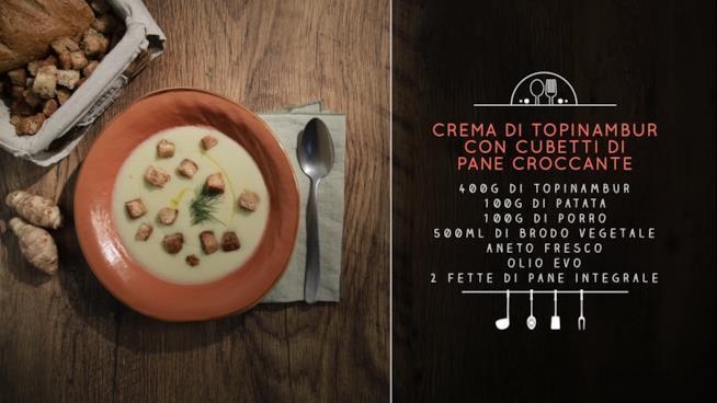 La ricetta della crema di topinambur con cubetti di pane croccante