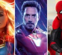 Da sinistra verso destra: Capitan Marvel, Iron Man e Spider-Man