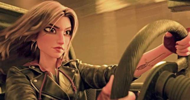Il personaggio di Shank doppiato da Gal Gadot in una scena di Ralph Spaccatutto 2