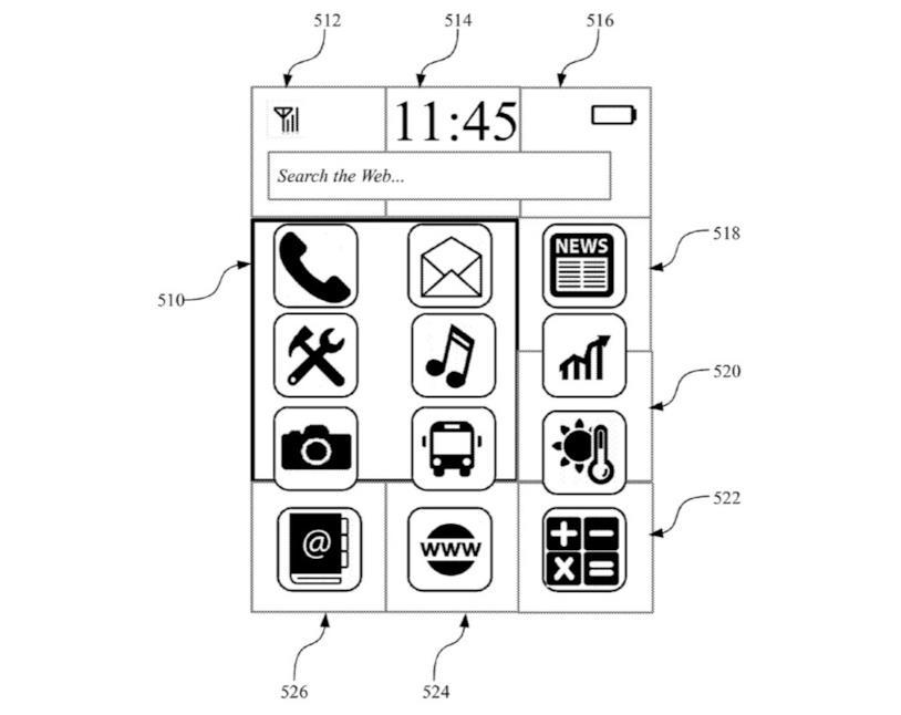 Illustrazione della UI dello smartwatch brevettato da IBM