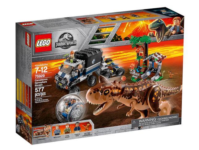 Dettagli del box del set LEGO Fuga dal Carnotaurus sulla girosfera