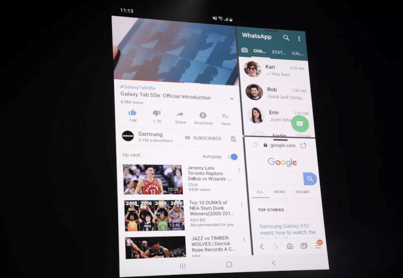 Foto al Galaxy Fold  dall'evento Unpacked 2019 di Samsung