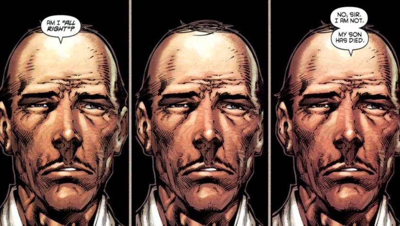 Tre vignette consecutive nella quali Alfred parla a un Bruce Wayne fuori campo