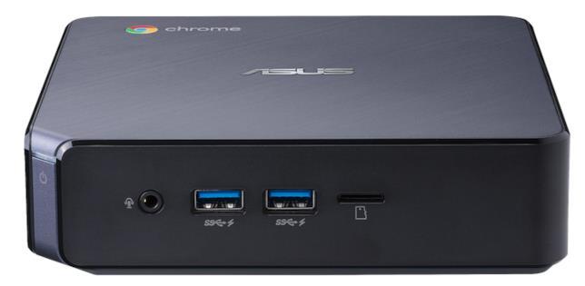 Immagine stampa che mostra le porte sulla parte anteriore di ASUS Chromebox 3