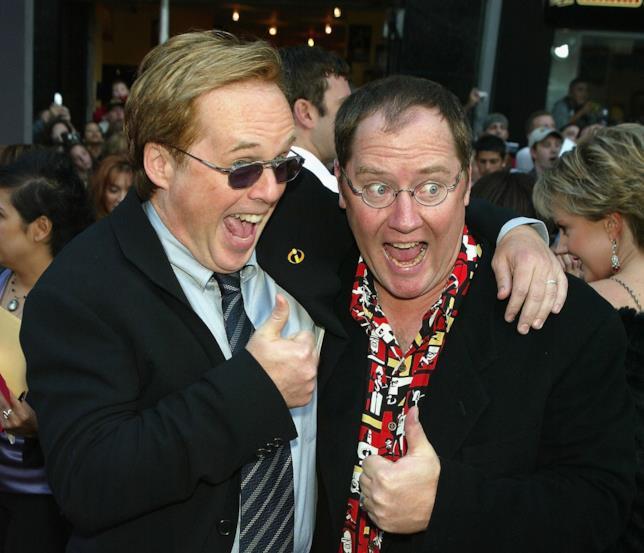 John Lasseter e Brad Bird alla prima de Gli Incredibili