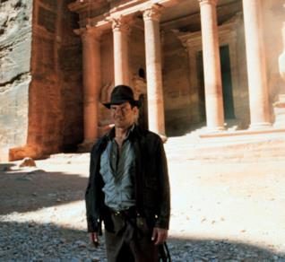 Harrison Ford sul set di Indiana Jones e l'ultima crociata