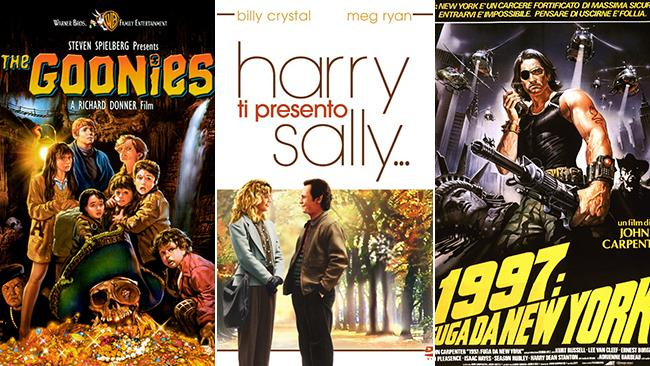 Le locandine dei film I Goonies, 1997 - Fuga da New York e Harry Ti Presento Sally