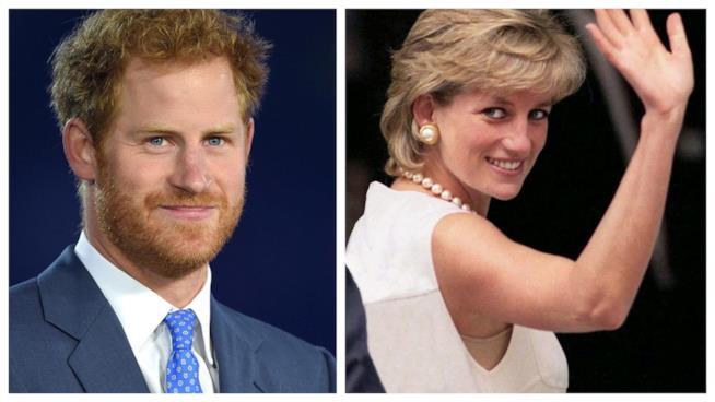 Primo piano di Lady Diana e di Harry