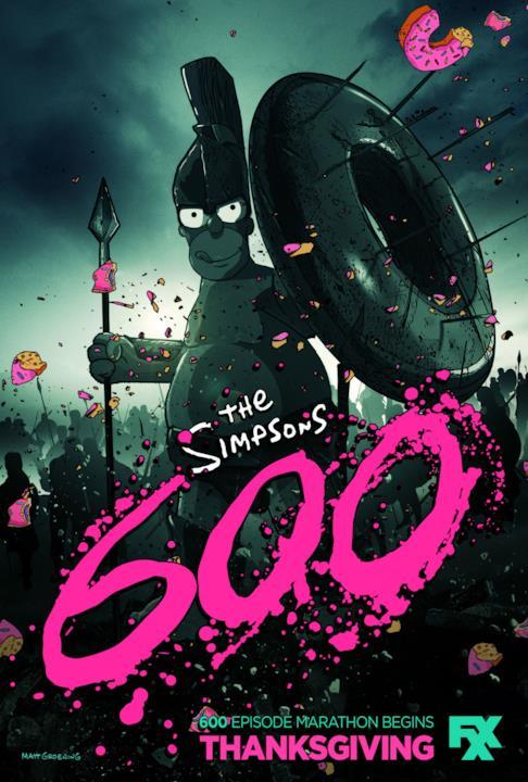 Per festeggiare il raggiungimento dei 600 episodi, i Simpson omaggiano il film 300 di Zack Snyder