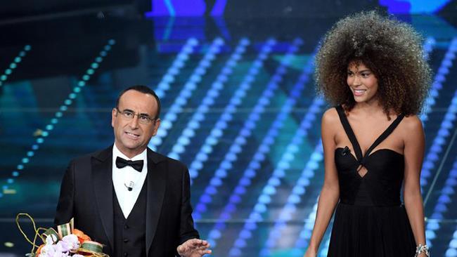 Tina Kunakey Di Vita e Carlo Conti, Sanremo 2017