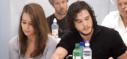Kit Harington ed Emilia Clarke, interpreti di Jon e Daenerys