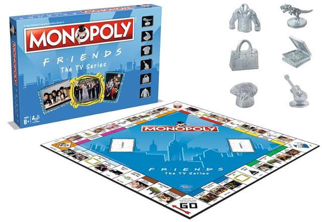 Il tabellone e le pedine dell'edizione del Monopoly a tema Friends