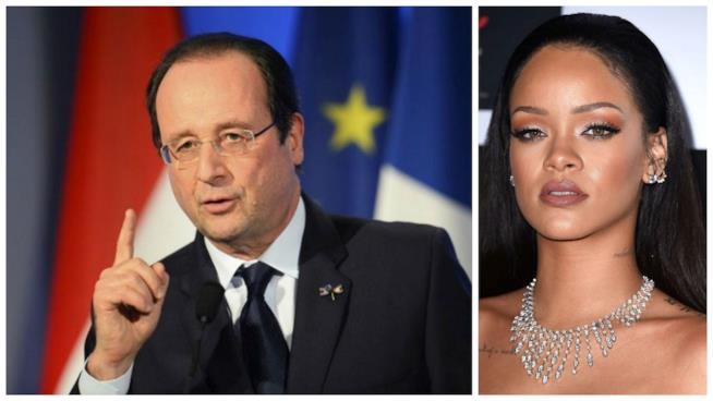 Primo piano di Rihanna e del Presidente Hollande