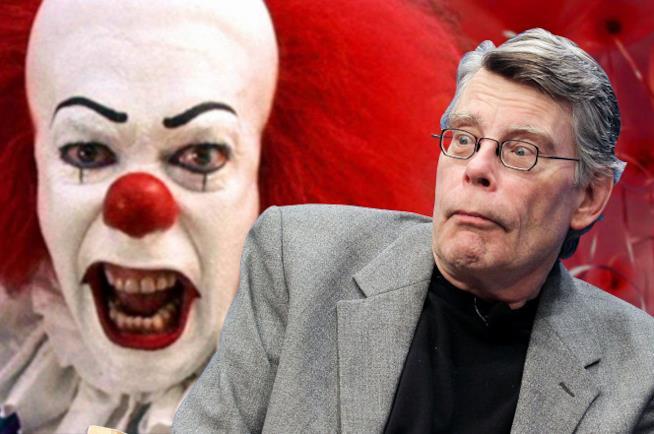 Un collage tra Stephen King e un clown