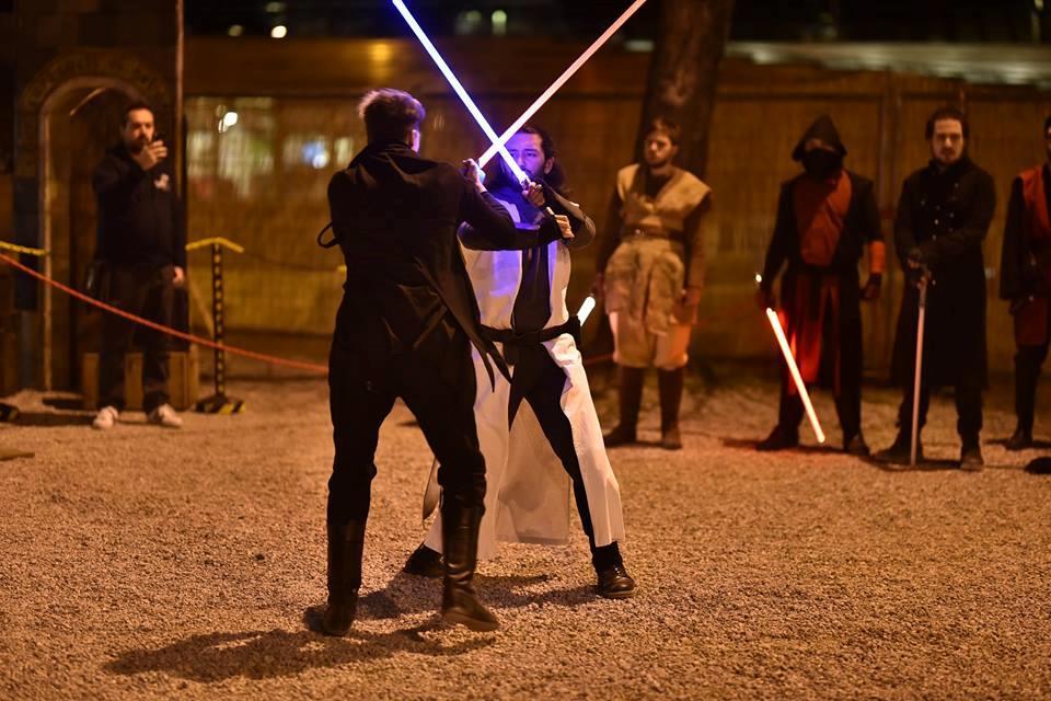 Uno scontro tra spade laser di Star Wars