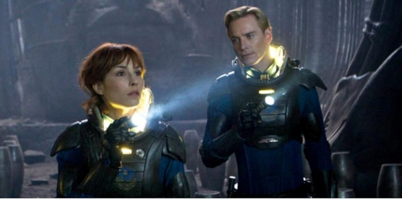Michael Fassbender in una scena del film Prometheus