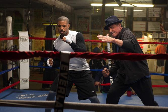 Rocky e Adonis si allenano sul ring