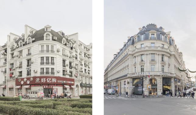 La facciata di un palazzo a Tianducheng (sinistra) su ispirazione di quello di Parigi (destra) negli scatti di François Prost
